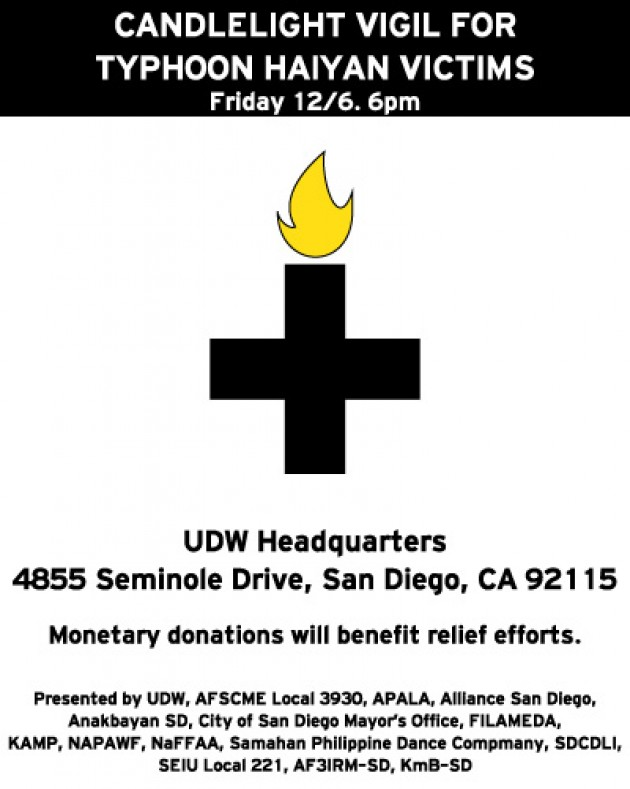 Flyer created by Erwin Mendoza with the Kuya Ate Mentorship Program for candlelight vigil in San Diego, CA
